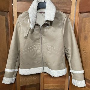 Pink Platinum Tan Aviator Jacket S/M Faux Sherpa